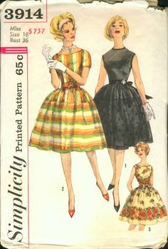 Simplicity patterns 3914. Miss Size 16 bust 36. Lovely early 1960s dresses with full skirts and different styles of textiles.