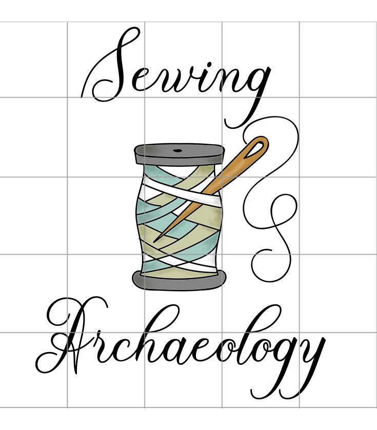 Sewing Archaeology logo, copyright Carrie Henderson. An archaeological grid is overlaid on top of a cotton reel with a needle through the threads. Above is the word Sewing below is the word Archaeology.