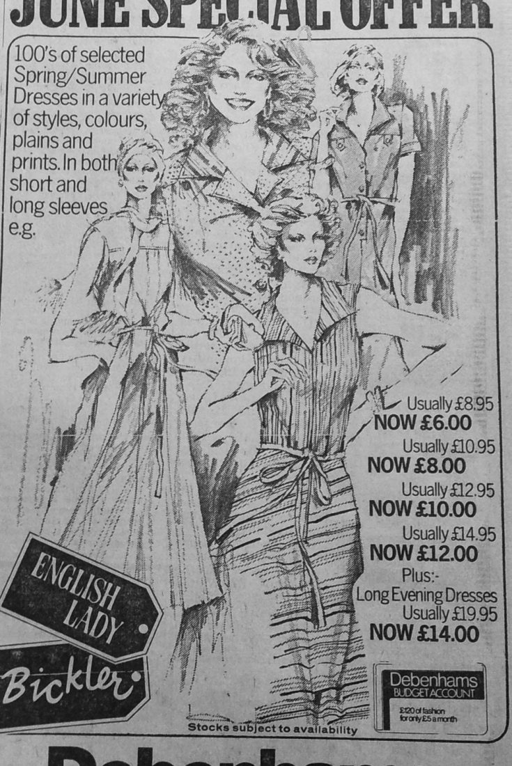 1978 Newspaper Advert for Debenhams Hull. Headline says English Lady and Bickler Special Offer. Line drawings of women include sleeveless summer dresses costed from £6.00 to £14.00