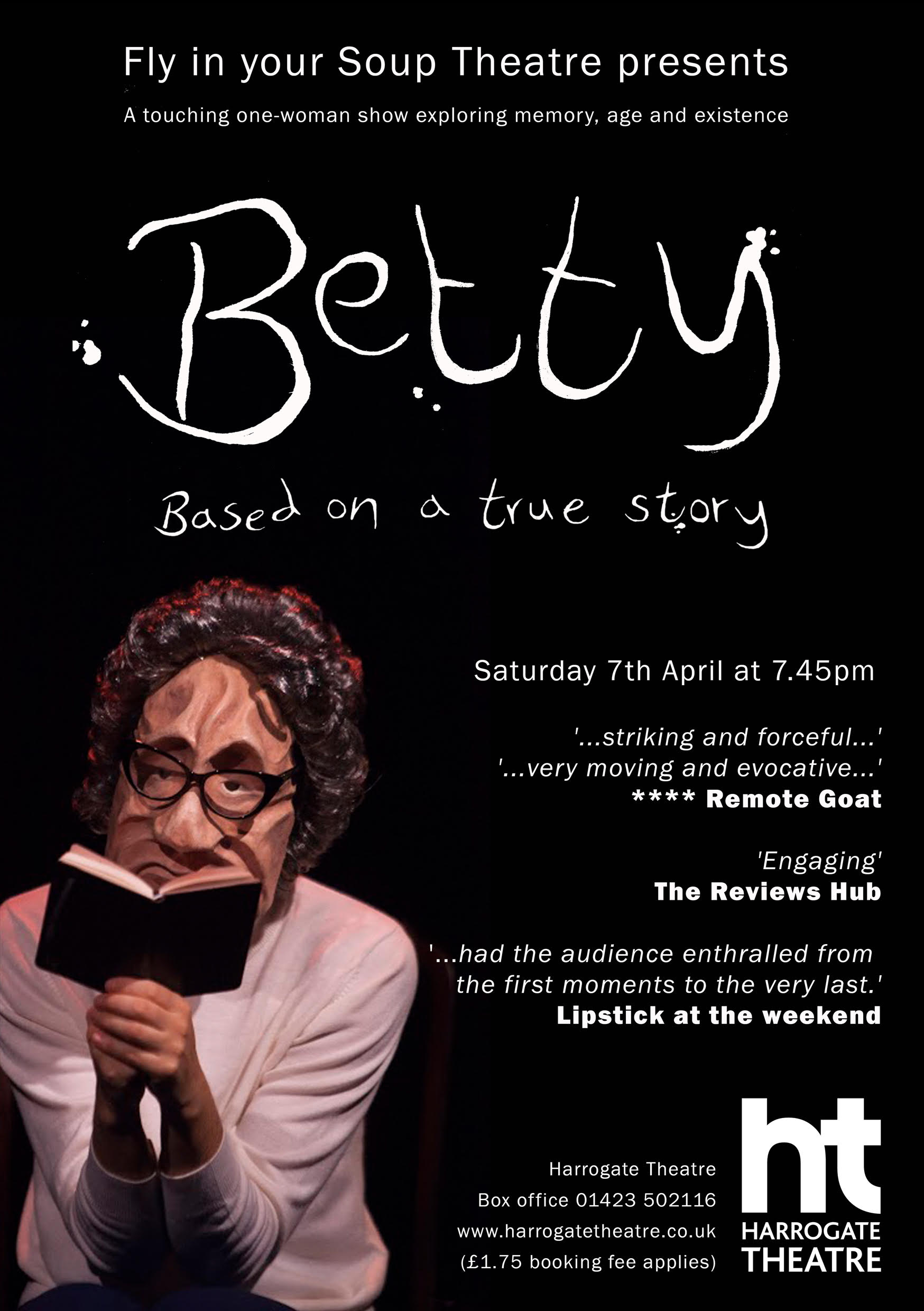A poster for Betty a play at Harrogate Theatre on 7th April 2018. Tickets from the box office at Harrogate Theatre.