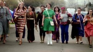 11 ladies arrive at Valley West factory to see what working life was like in 1968