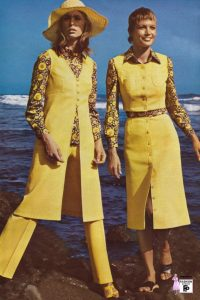 1970s yellow pant suits and matching yellow button through dress houseofmirelle.uk