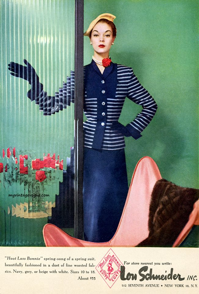Blue suit by Jean Pratchett 1952 houseofmirelle.uk
