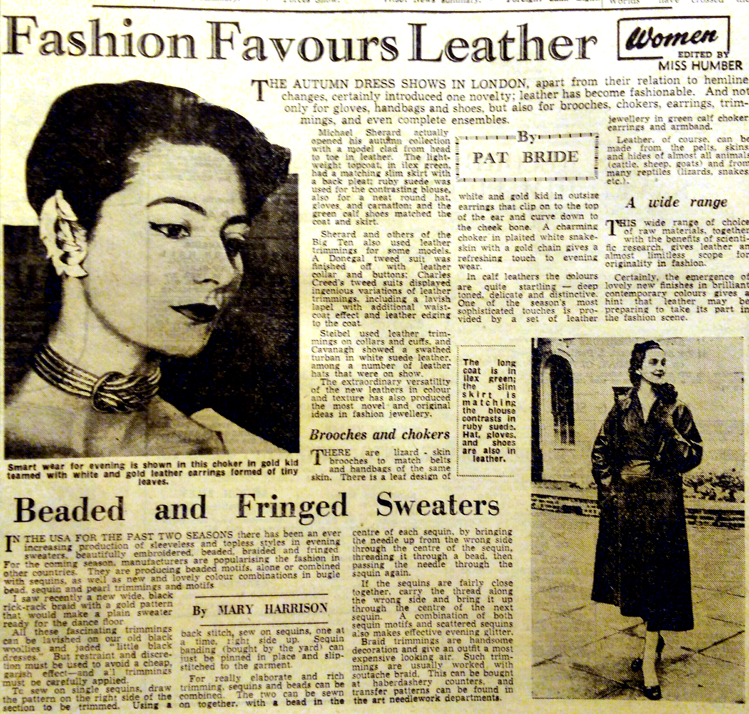 A newspaper report from 1953 titled Fashion Favours Leather. It is about couturier Michael Sherard's leather collection from the same year and shows a dress, choker an coat made of leather.