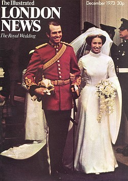 The December 1973 cover of Illustrated London News showing the wedding dress of Princess Anne when she married Captain Mark Phillips.