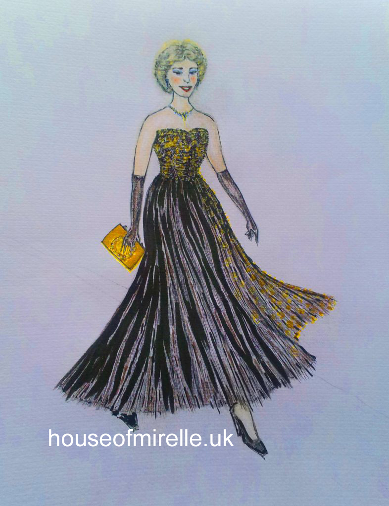 A 1950s illustration of a woman with short blonde hair, elbow length gloves and a short necklace walking from left to right along a catwalk. She is wearing a black strapless evening gown with full and flowing black skirt. The bodice and side panel is covered in gold rhinestones. She is carrying a gold clutch bag.