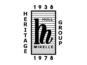 A black and white 1940s style logo. In the centre is an H combined with an M. Lines go through these letters saying HULL and MIRELLE. Outside the rectangle are the dates 1938 and 1978 and Heritage and Group.