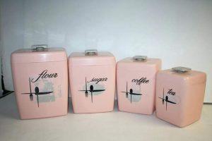 Pink 1950s storage jars houseofmirelle.uk