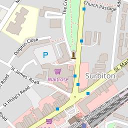 Map of Central Surbiton Surrey.