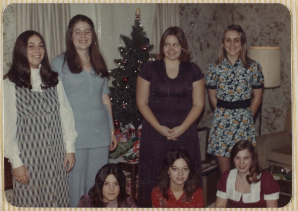 Everyday people in the 70s at Christmas