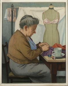 The Dressmaker Painting Clifford Hall circa 1955 houseofmirelle.uk